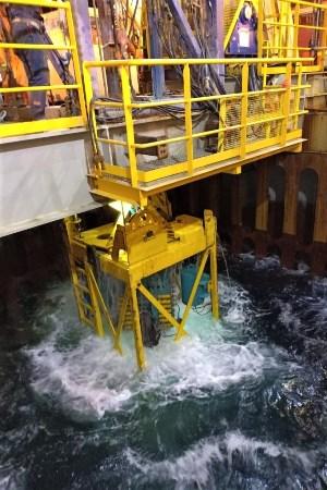 Geoquip Marine GMC201 seabed PCPT raised through moonpool
