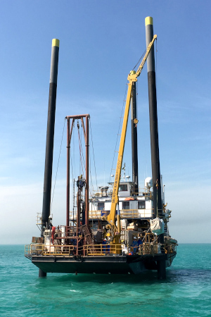 Geoquip Marine jack-up barge with GMRJ50 nearshore drilling rig